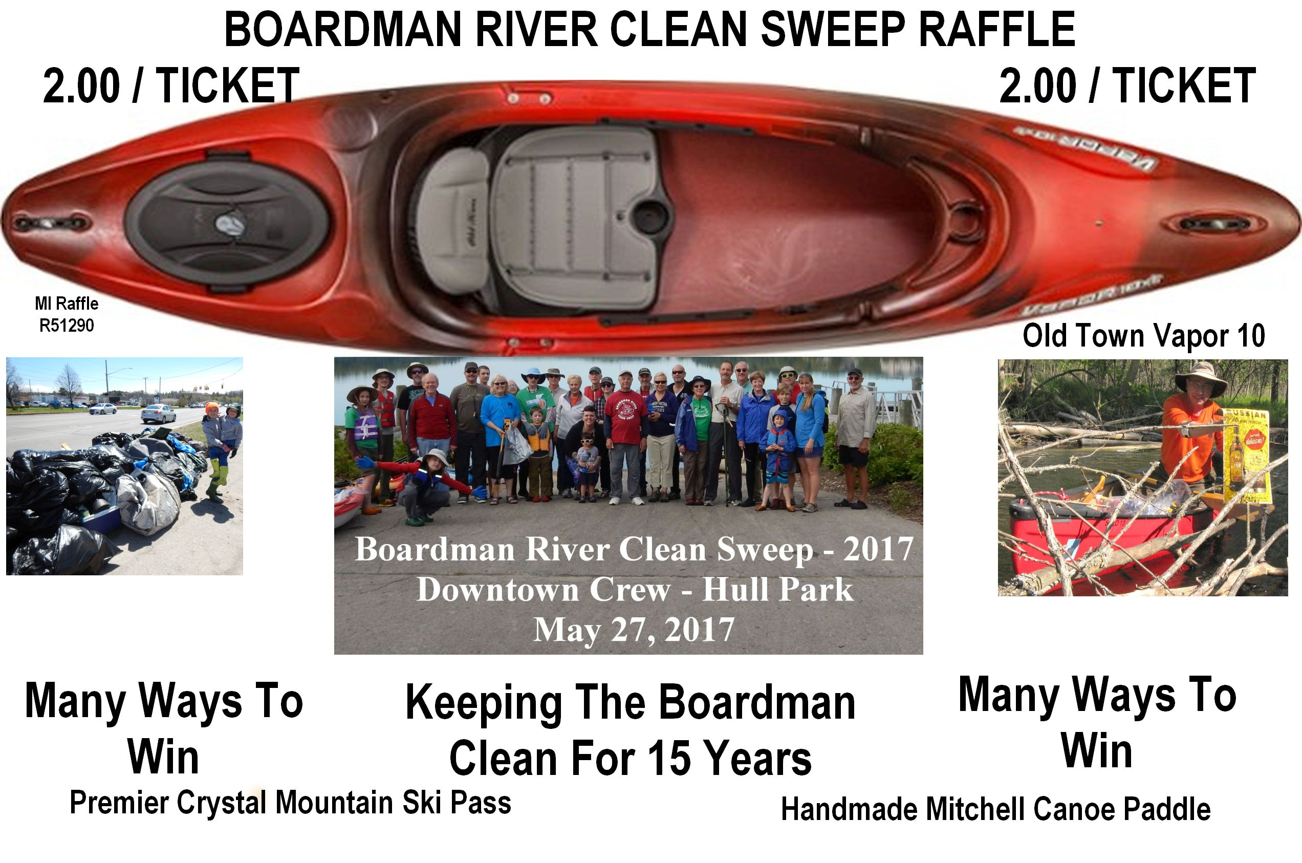 The BRCS wishes to thank Dunham's of Traverse City, Crystal Mountain of Thompsonville,  Mitchell Paddle Co. of New Canaan, NH, Pine River Paddle Center and all our donors for their generous donations to support this effort.  Click on this image to see full sized image.